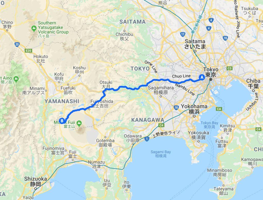 新宿から朝霧高原へのルート
