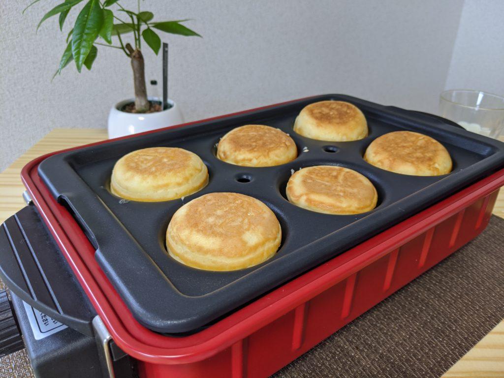 レコルト Home BBQのバラエティプレートでホットケーキを焼く